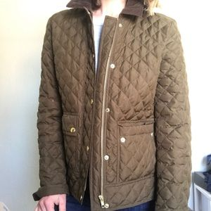 Jcrew lightweight quilted riding jacket olive